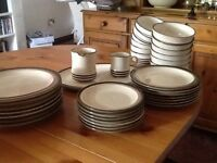 Selection of DENBY China - cream with brown stripe