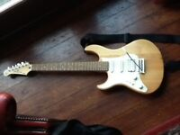 As new Yamaha Pacifica electric guitar, bag and Fender amp.