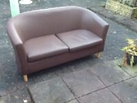 small chocolate brown faux leather sofa