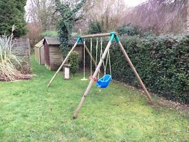 Wooden triple swing set- Includes infant, junior and circular swing which can be removed and changed