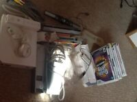 NINTENDO WII, FIT BOARD, GAMES, CONTROLLERS, SENSOR BAR, AND MORE