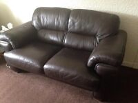 2 seater and chair Brown Leather