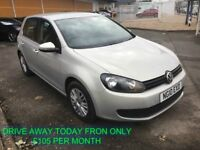 """JULY 2010 VW GOLF 1.6 TDI S 5DR 19"""" ALLOYS PRIVACY FINANCE AVAILABLE FROM £105 PER MONTH £30 TAX"""