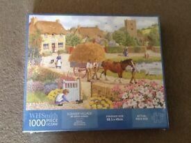 WHSMITH ' SUMMER VILLAGE ' 1000 JIGSAW PUZZLE SIZE 48 x68cm ( NEW & STILL IN ORIGINAL PACKAGING