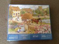 WHSMITH ' SUMMER VILLAGE ' 1000 JIGSAW PUZZLE SIZE 48 x68cm ( NEW & STILL IN ORIGINAL PACKAGING