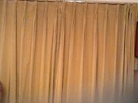 """Beige velvet curtains. Fit 12foot wide window or wall. 96"""" long. Triple pleats 6"""" deep.j"""