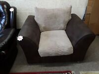 SALE Brown cord leather chair Copley Mill LOW COST MOVES 2nd Hand Furniture STALYBRIDGE SK15 3DN