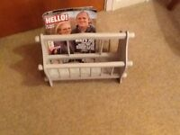 Wooden magazine rack, painted in Autentico chalk paint , colour 'Gris' and finished in clear wax.