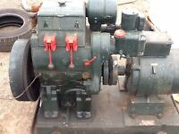 lister dursley twin cylinder water cooled stationary engine with generator