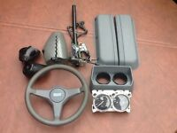 Classic Mini steering column outer tube, switch, wheel , dials etc.