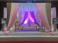 Wedding stages,mehndi stages,outdoor lighting,chair covers,chocolate fountain,photography,video,dj