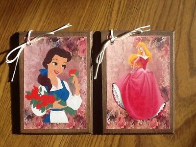 5 DISNEY PRINCESS Christmas Ornaments/HangTags/GiftTags - New/Handcrafted SETv