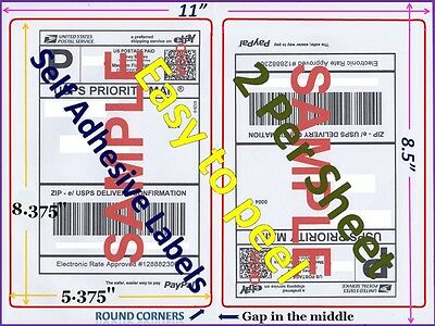 500 Premium Rounded Corner Shipping Labels 2 Per Sheet-8.5 X 11-self Adhesive