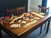 Brio toy wooden train set and various accessories