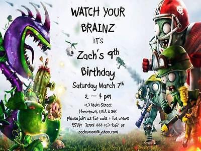 Personalized Plants vs. Zombies Garden Warfare Custom Birthday Invitation