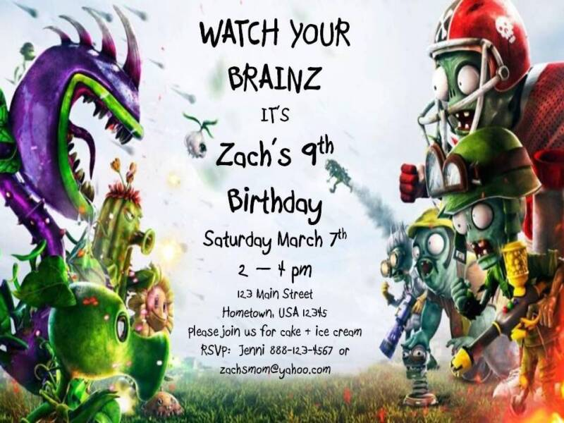 Personalized Plants vs. Zombies Garden Warfare Custom Birthday Invitation