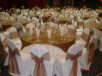 AFFORDABLE WEDDING DECORATION,100 CHAIR COVER & SASH £95,PACKAGES FROM £400