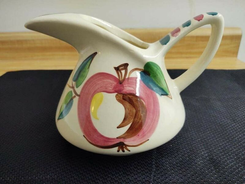 Vintage Purington pottery Apple large ice lip jug pitcher