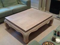 Large bespoke coffee table limestone wood