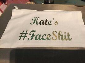 Large Cotton Makeup Bag - Personalised #Faceshit