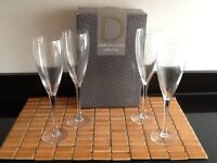 4 x Brand New Dartington Hand - Made Crystal Champagne Glasses