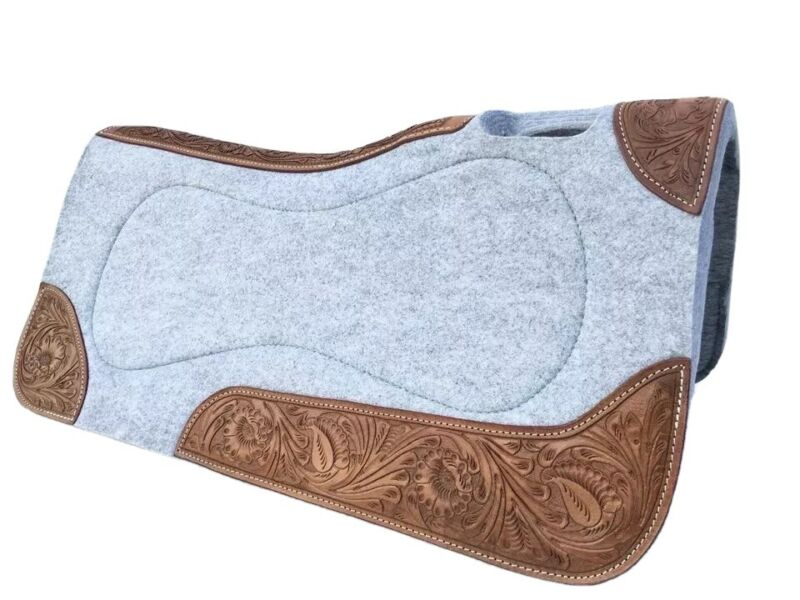 """Western Grey Felt Pad with Leather Lining And Double Patch Carving 32"""" x 32"""""""