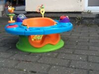 Terrific baby seat with rotating circular tray/table around seat -moulded seat keeps baby upright
