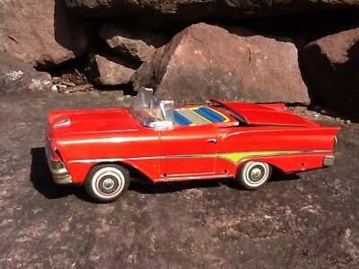 Vintage Kosuge Nomura Tn Ford Skyliner Convertible Friction Tin Litho Toy Car
