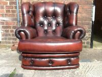 Leather chesterfield chair high back wing back chunky chair real leather £250 free local delivery :)