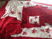 "Dunelm poppy Bed throw double 200 x 220cm 2 pillowcases pillow sham,pair of 66x72"" curtains."