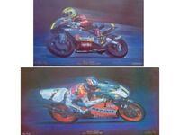 Colour prints of 2 Motorbike racing Legends