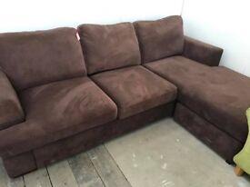 DFS brown fabric chaise sofa