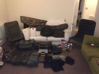 Loads of carp gear, Bivvy, chairs, bags, tackle, bait
