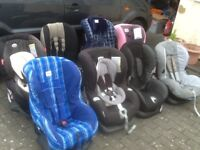 From £25 to £45 each-group 1 car seats for 9mths to 4yrs(9kg to 18kg)all recline,are washed&cleaned