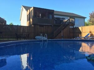 30' round above ground pool and deck