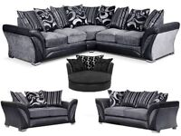 FREE DELIVERY TO MOST AREAS ON THIS PRODUCT ONLY ::Brand new luxury chennille fabric sofas