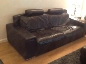 Violino leather suite, comprising 3 seater,2 seater, chair and large foot stool