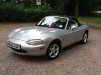 Beautiful Mazda MX5 1.6cc, MOT, 2000, 58k miles, silver, cambelt done, v reliable, great condition.