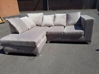 Stylish BRAND NEW beige plush velvet corner sofa ,new and packed ,any side in stock,can deliver