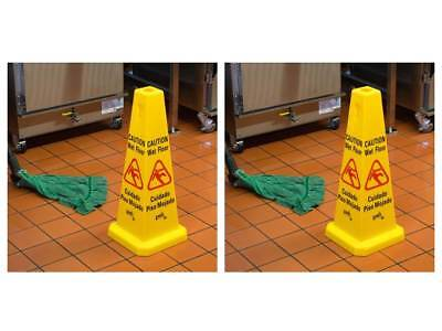 2-pack 27 Yellow Plastic Caution Wet Floor Janitorial Cone-shaped Signs