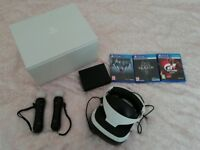 PlayStation 4 Virtual Reality (PS4 VR) headset with move controllers and games