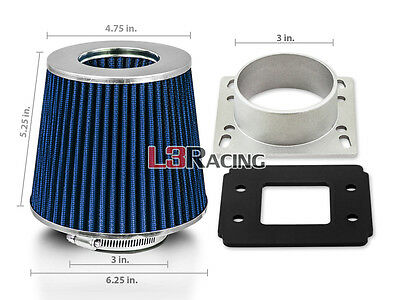BLUE Dry Filter+AIR INTAKE MAF Adapter Kit For Ford 92-03 Ranger 2.3L 2.5L 3.0L Air Intake Maf Adapter
