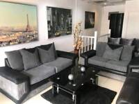 Black Leather and Grey Chord 3+2 Sofa