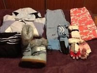 Bundle of Skiing Clothes and 1 Pair of Snow Boots