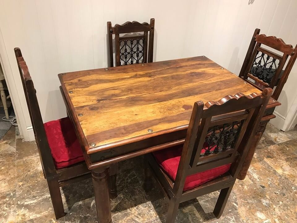 Rosewood Heavy Table and 4 Chairs (with chair pads) + side table (desk)