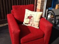 Red Fabric Chair - Good condition, comfortable with cushion included