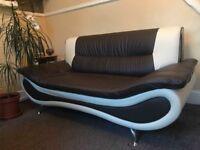 AS NEW: 3 seat & 2 seat faux leather sofas! Beautiful Brown/Cream two tone design, chrome legs.