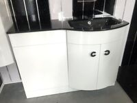 **CLEARANCE** Modern Curve Glass top WC & Basin unit available in black or white