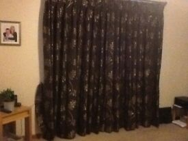 Brown and gold fully lined curtains. 9ft wide x 7ft6in drop. V G C. Smoke and pet free home.