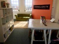 1-3 desks to rent in bright, creative Cardiff Bay office/studio £150 each desk inc WIFI & bills